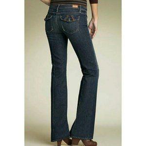 Paige Fairfax Leather Trim Bootcut Jeans 26